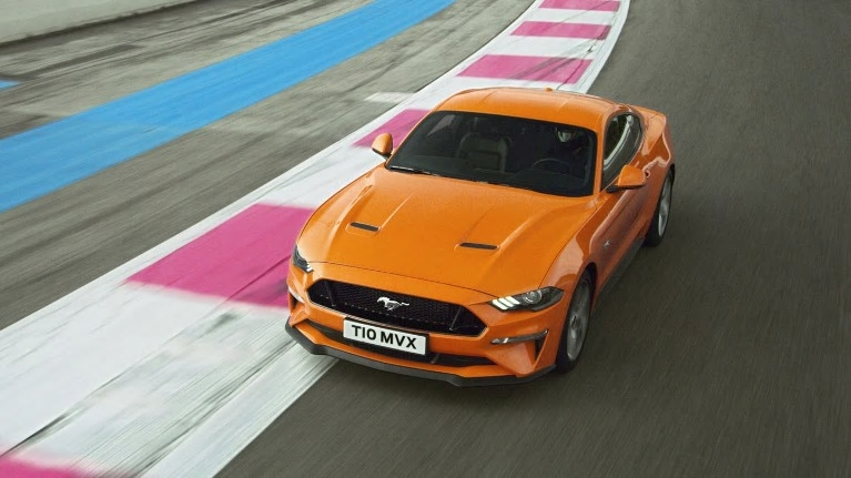 Mustang on race track